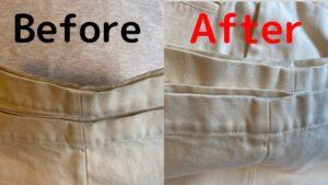 白いワイドパンツの裾の汚れ